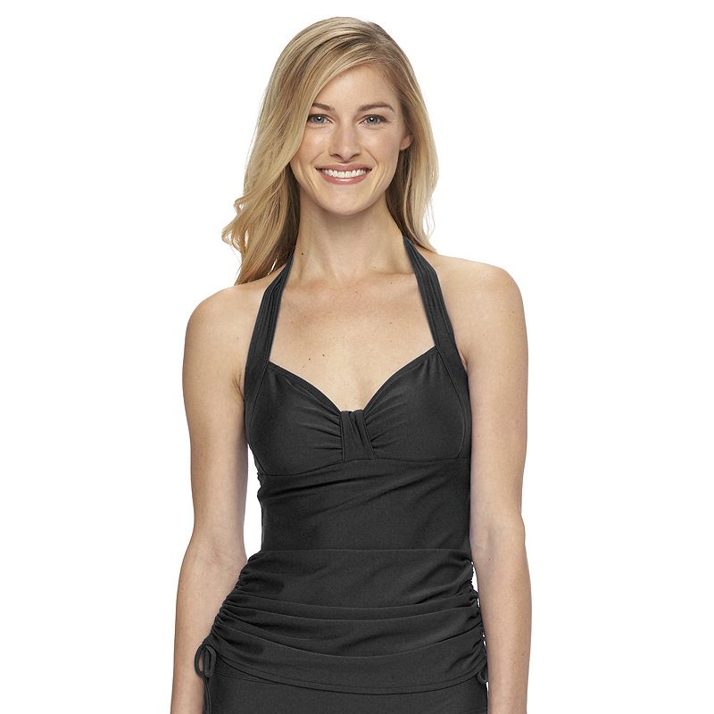 Women's Croft & Barrow® Shirred Halterkini Top