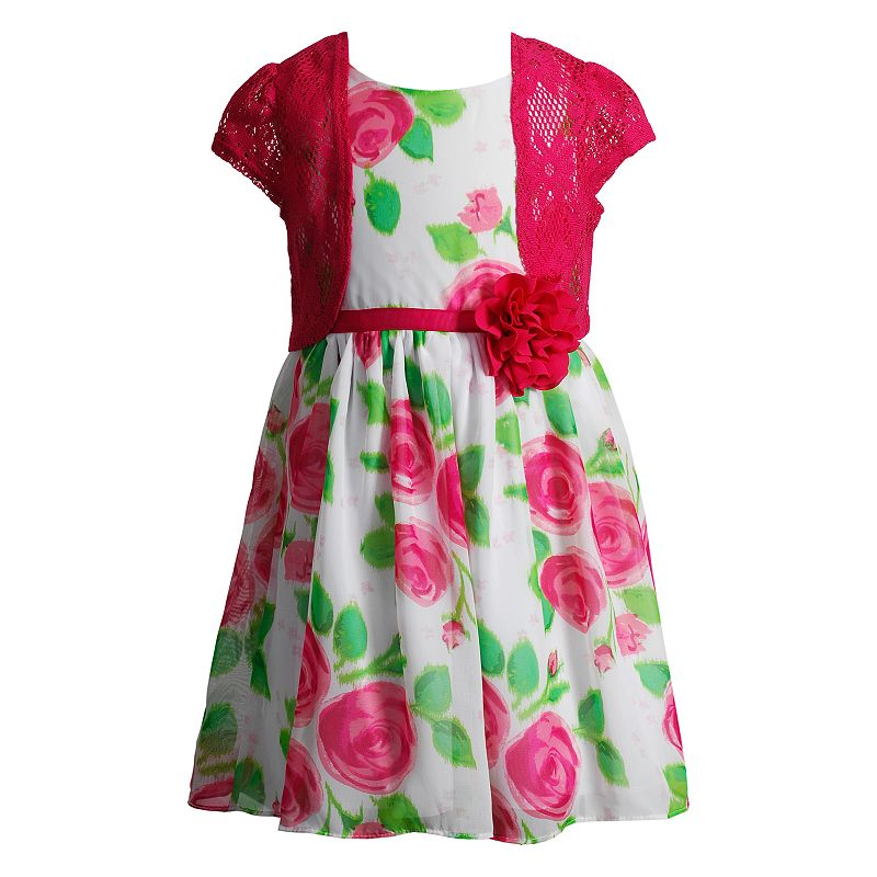 Girls 4-6x Youngland Floral Dress & Crochet Shrug Set