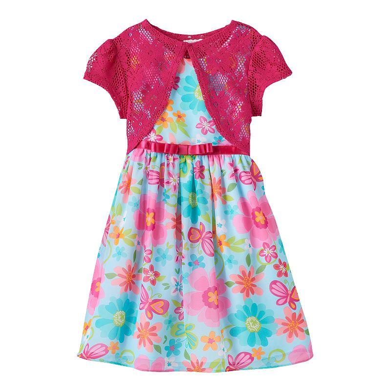 Girls 4-6x Youngland Floral Dress & Crochet Lace Shrug Set