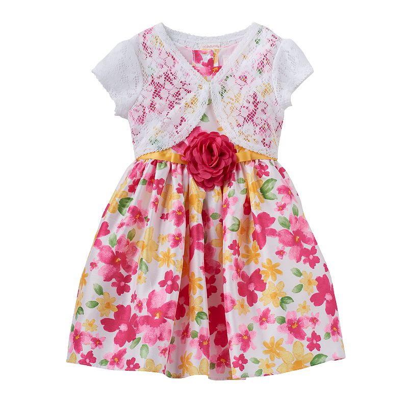 Girls 4-6x Youngland Floral Rosette Dress & Crochet Lace Shrug Set