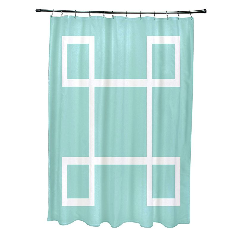 E By Design Greek Key Fabric Shower Curtain