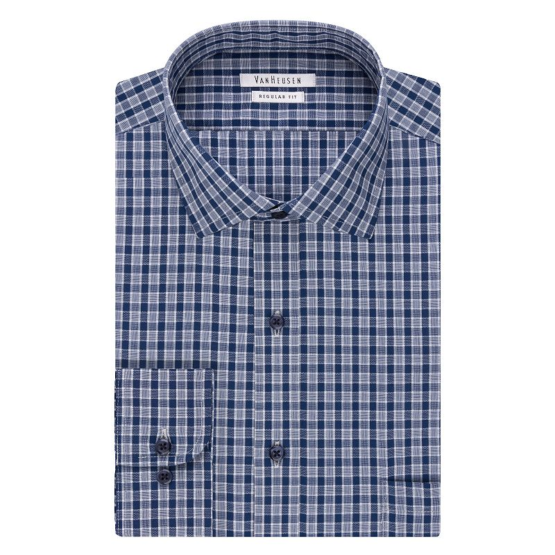 Men's Van Heusen Blue Haze Regular-Fit Plaid Wrinkle-Free Dress Shirt