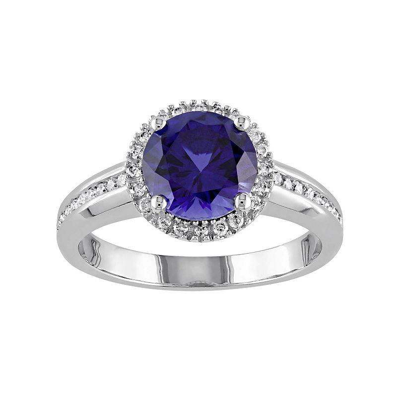 Lab-Created Sapphire & 1/4 Carat T.W. Diamond 10k White Gold Halo Ring