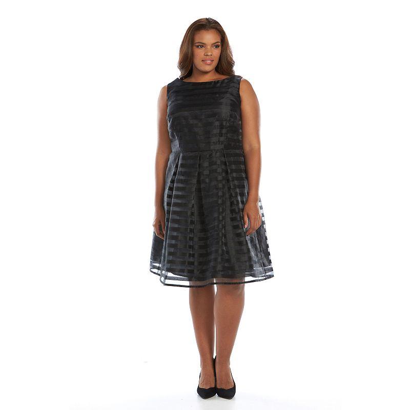 Plus Size Suite 7 Striped Fit & Flare Dress