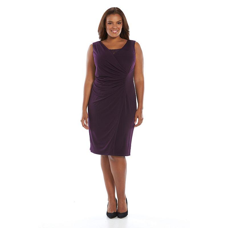 Plus Size Suite 7 Embellished Faux-Wrap Dress