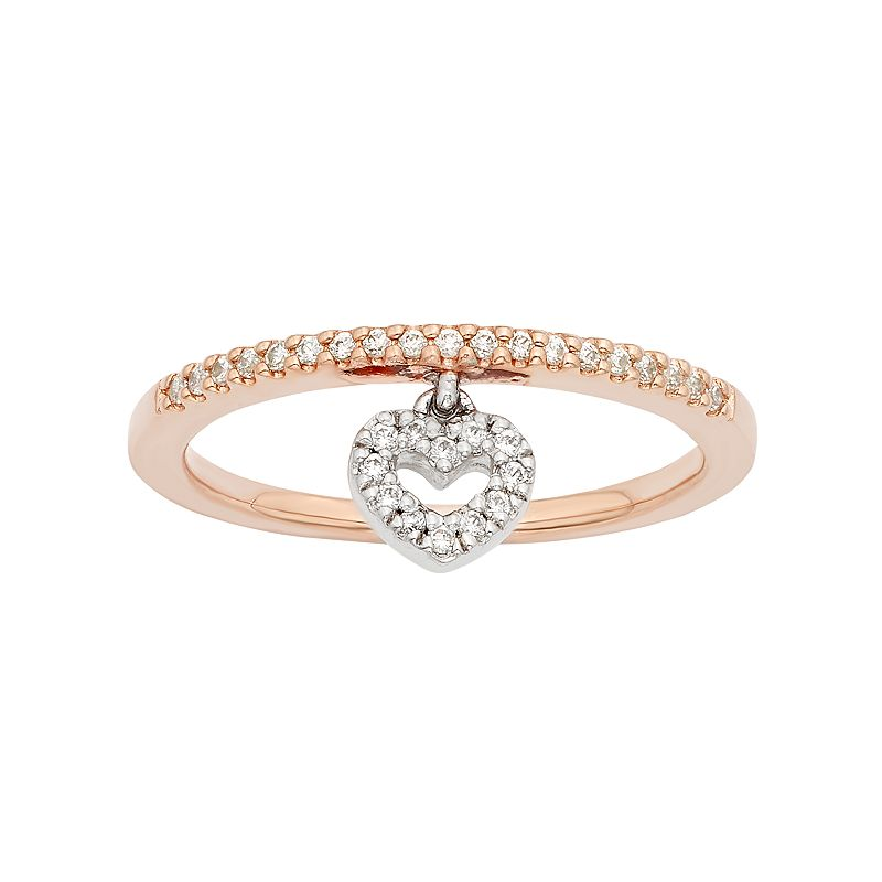 1/6 Carat T.W. Diamond Two Tone 10k Rose Gold Heart Charm Ring
