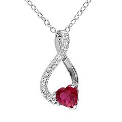 Lab-Created Ruby & Diamond Accent Sterling Silver Heart & Infinity Pendant Necklace  by