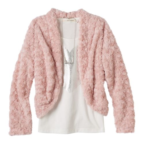 Girls 7-16 Self Esteem Faux Fur Jacket, Tee & Necklace Set