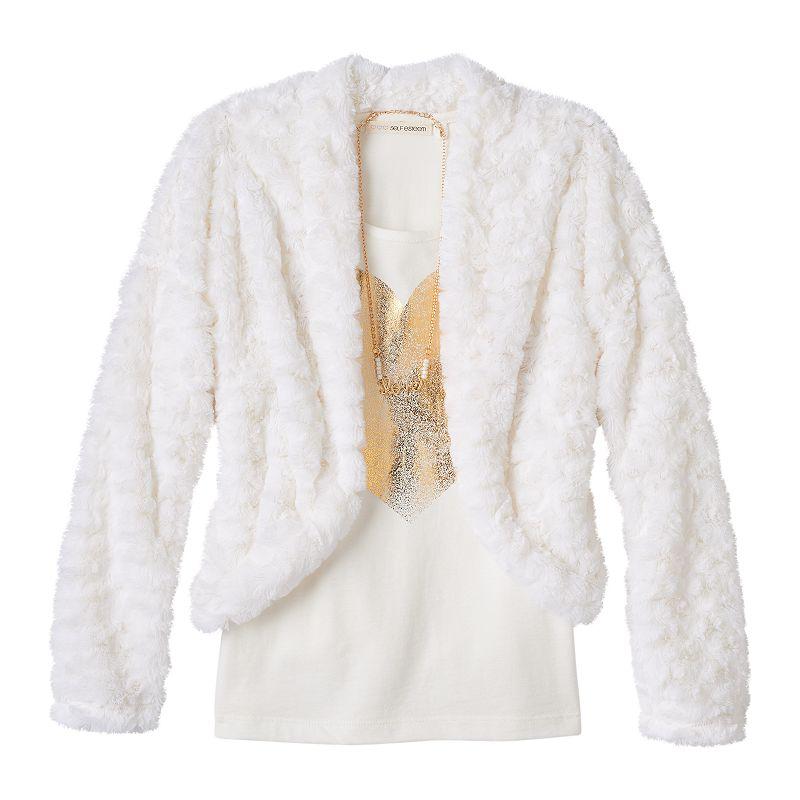 Self Esteem Faux Fur Jacket, Tee & Necklace Set - Girls 7-16