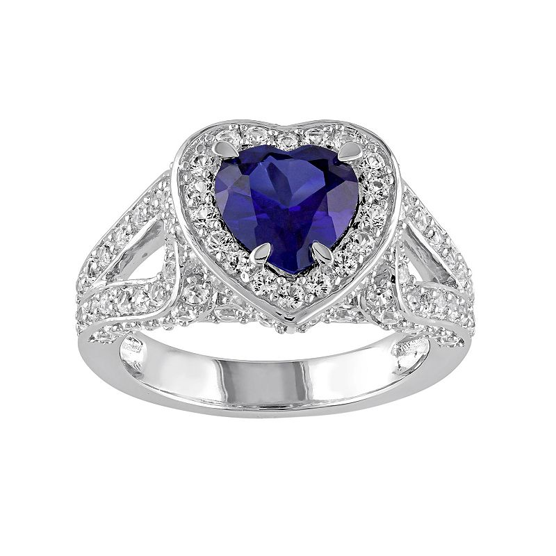 Lab-Created Blue & White Sapphire Sterling Silver Heart Ring