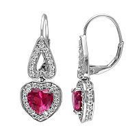 Lab-Created Ruby & Lab-Created White Sapphire Sterling Silver Heart Drop Earrings