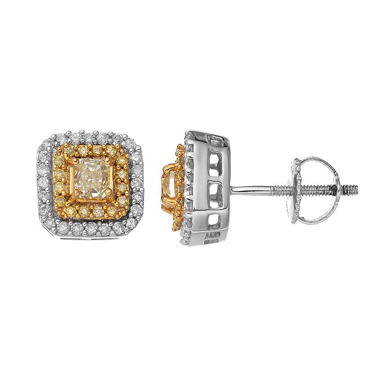 14k White Gold 5/8 Carat T.W. Yellow & White Diamond Halo Stud Earrings