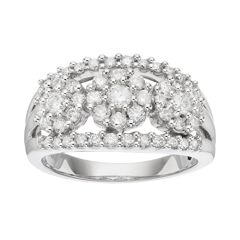14k White Gold 1 Carat T.W. Diamond 3-Stone Ring
