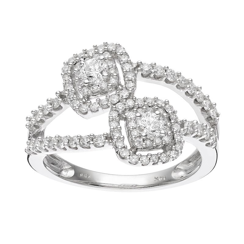 14k White Gold 3/4 Carat T.W. Diamond Double Square Frame Ring
