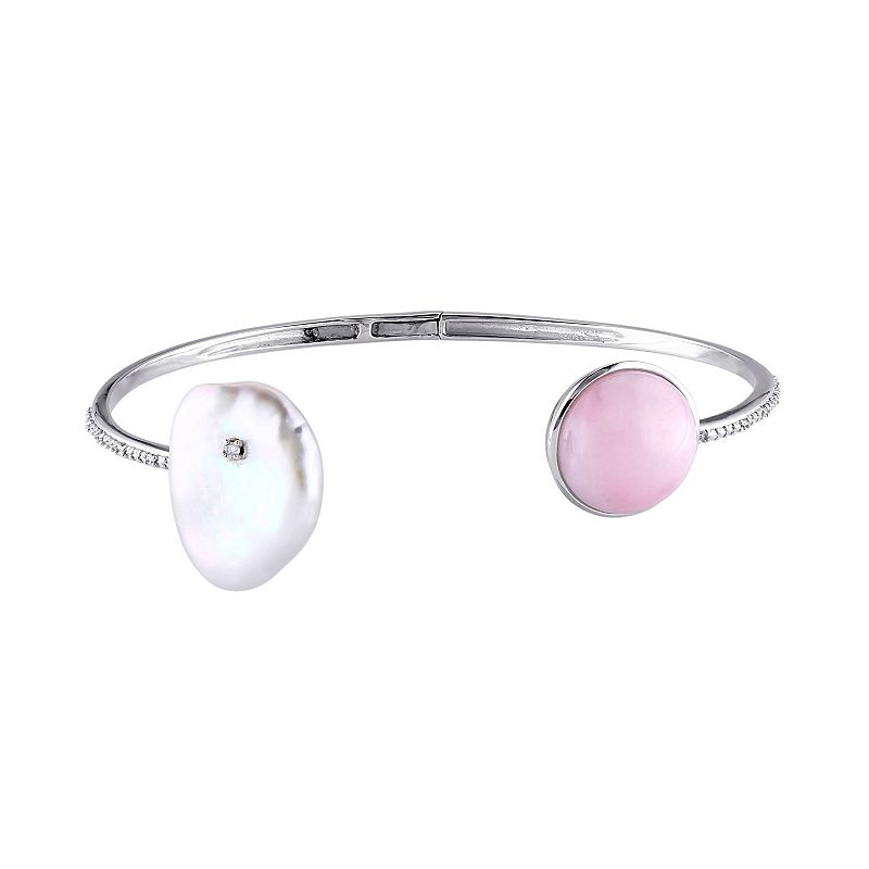 Pink Opal, Keishi Freshwater Cultured Pearl & Diamond Accent Sterling Silver Cuff Bracelet