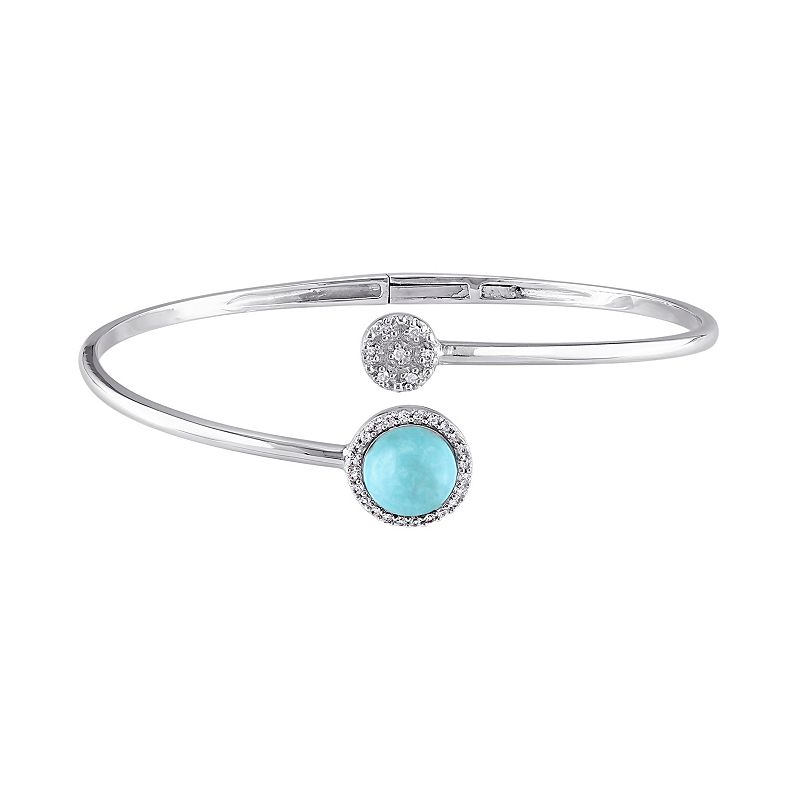 Turquoise, Diamond Accent & White Topaz Sterling Silver Cuff Bracelet