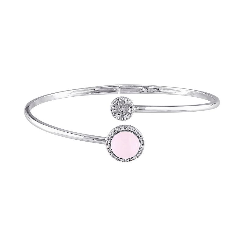 Pink Opal, Diamond Accent & White Topaz Sterling Silver Cuff Bracelet