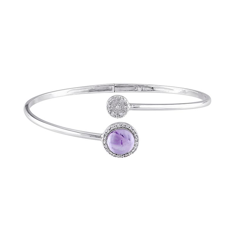 Amethyst, Diamond Accent & White Topaz Sterling Silver Cuff Bracelet