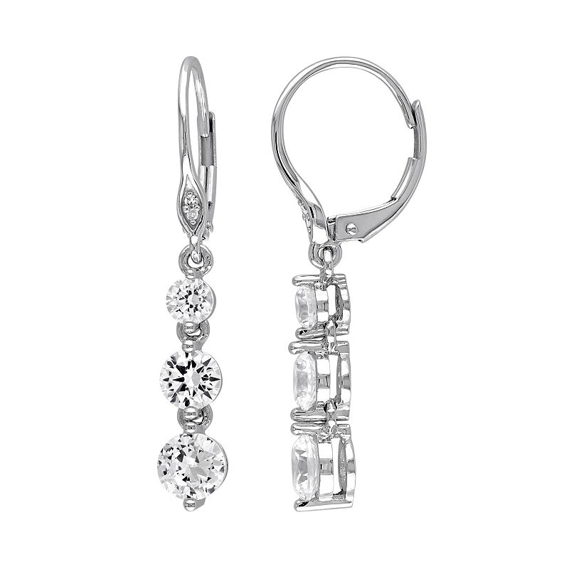 Lab-Created White Sapphire & Diamond Accent 10k White Gold Linear Drop Earrings