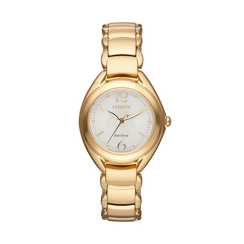 Citizen Eco-Drive Women's Dress L Gold Tone Stainless Steel Watch - FE2072-89A