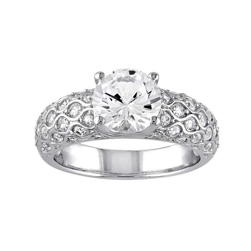 Lab-Created White Sapphire 10k White Gold Scalloped Ring