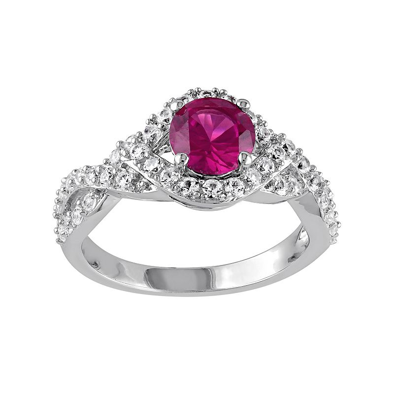Lab-Created Ruby & Lab-Created White Sapphire Sterling Silver Twist Ring