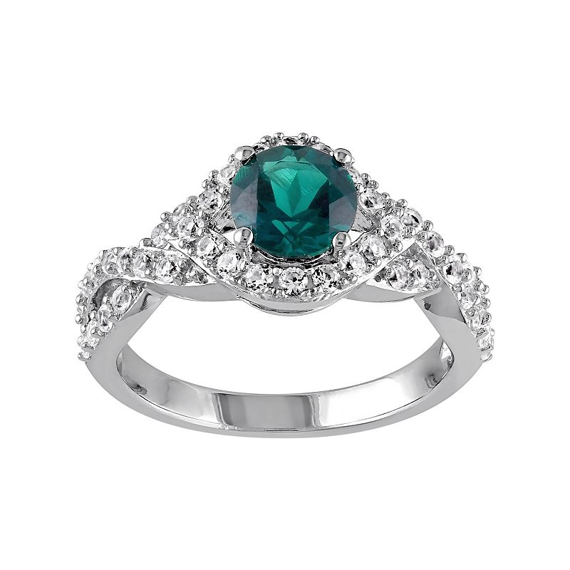 Sterling Silver Lab-Created Emerald & Lab-Created White Sapphire Twist Ring