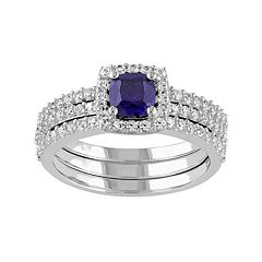 Lab-Created Blue & White Sapphire Frame Engagement Ring Set in Sterling Silver by