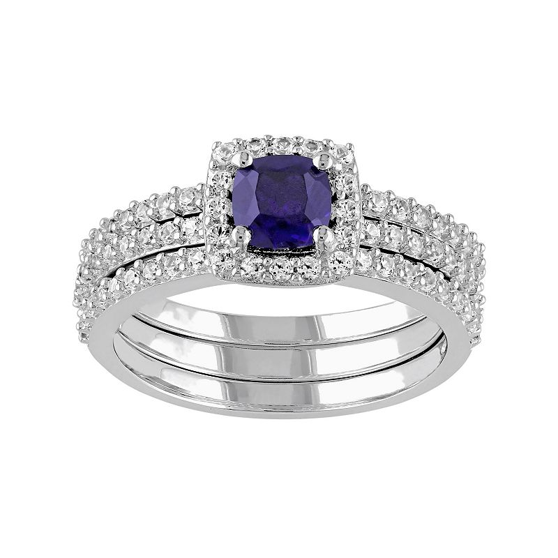 Lab-Created Blue & White Sapphire Frame Engagement Ring Set in Sterling Silver