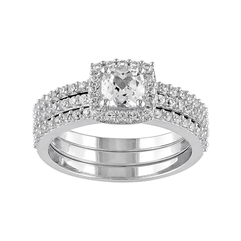 Sterling Silver Lab-Created White Sapphire Halo Engagement Ring Set