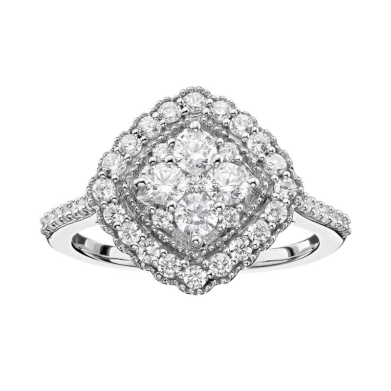 1 Carat T.W. Diamond 10k White Gold Square Halo Ring