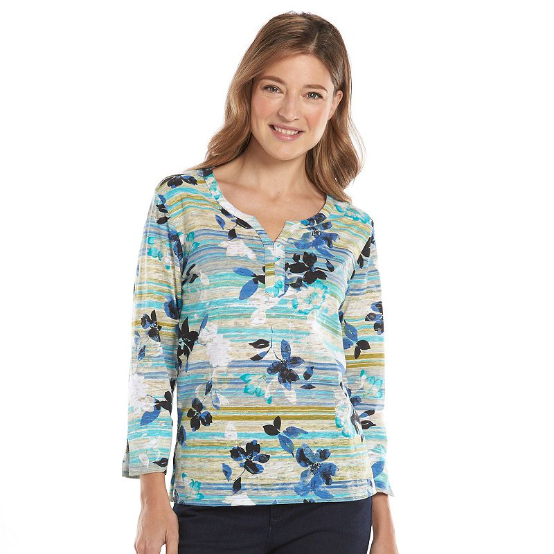 Caribbean Joe Floral Burnout Top - Women's
