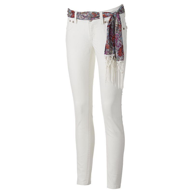 Juniors' Wallflower White Luscious Curvy Skinny Jeans