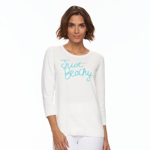 Women's Caribbean Joe ''Just Beachy'' Crewneck Sweater