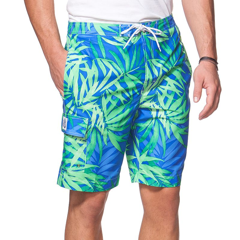 Big & Tall Chaps Leaf Print Board Shorts