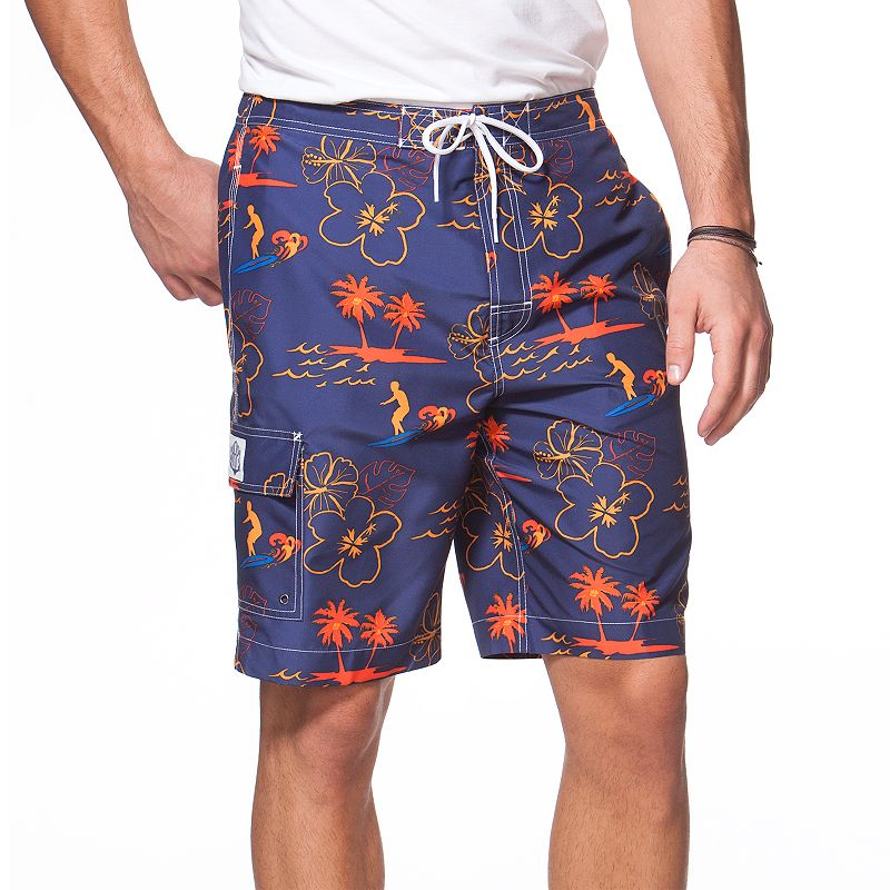 Big & Tall Chaps Tiki Hut Print Board Shorts