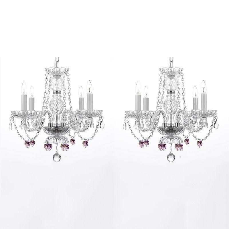 Gallery 2-piece Pink Crystal Hearts 4-Light Chandelier Set