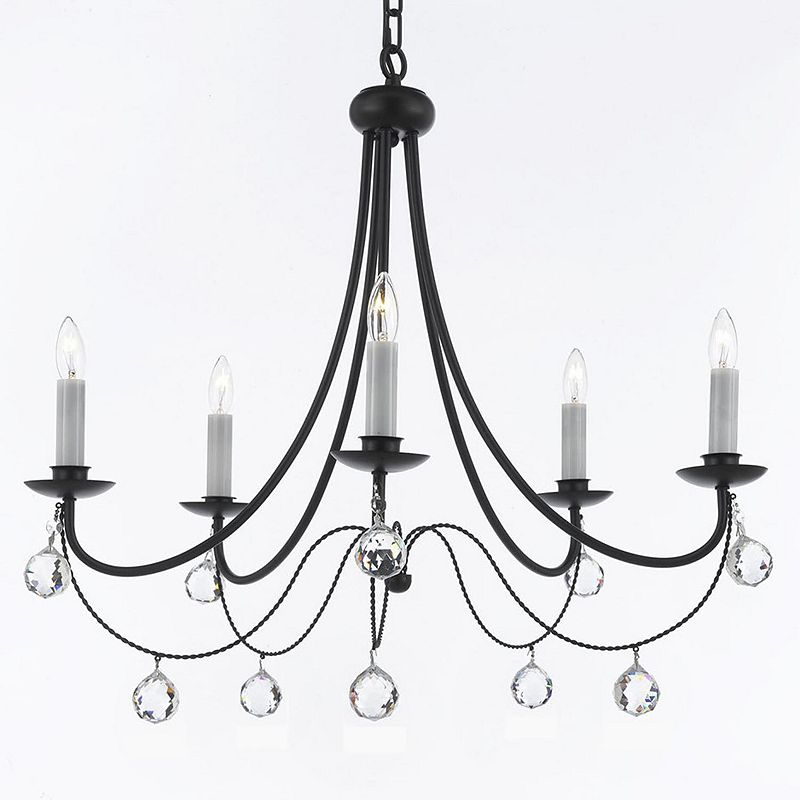 Gallery Versailles Wrought Iron and Crystal Ball 5-Light Chandelier