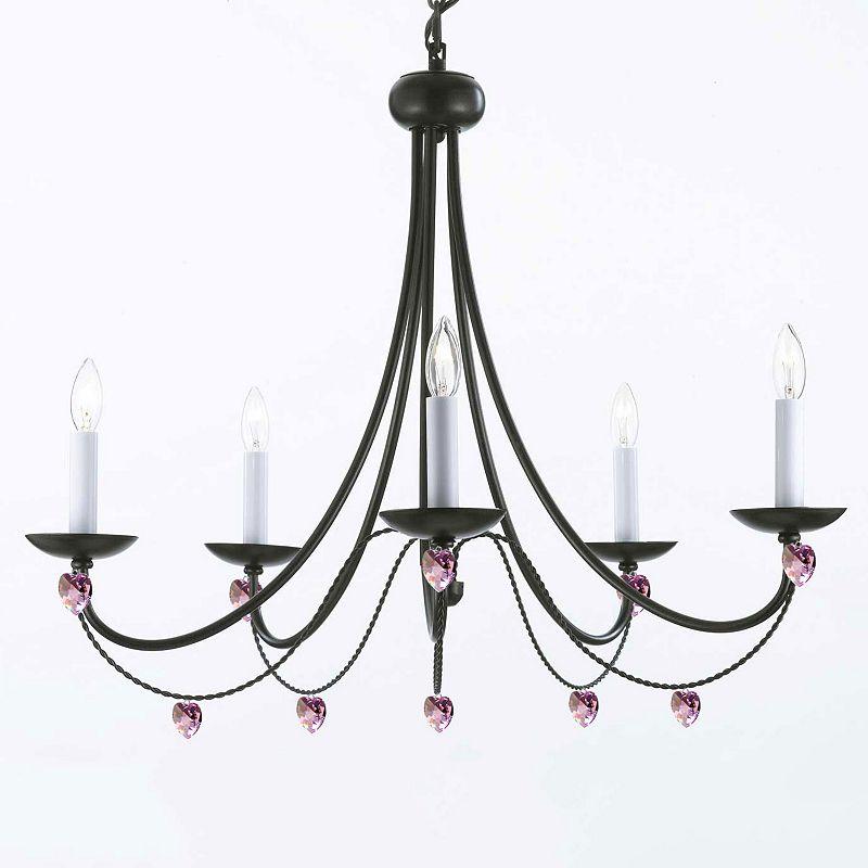 Gallery Versailles Wrought Iron Crystal Heart 5-Light Chandelier