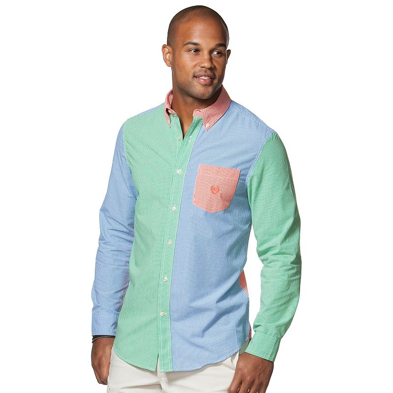 Big & Tall Chaps Colorblock Gingham Button-Front Shirt