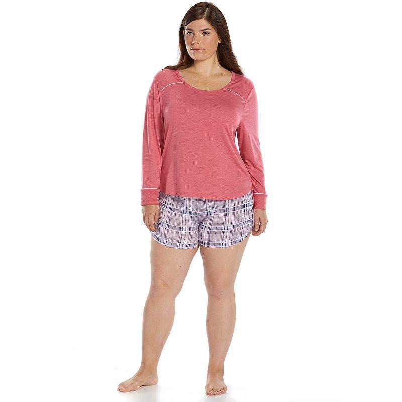 Plus Size Ten to Zen Pajamas: Heathered Tee & Shorts Pajama Set