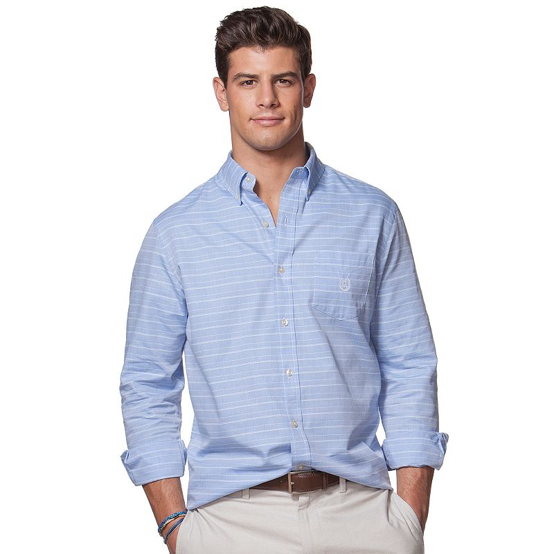 Big & Tall Chaps Herringbone Striped Button-Down Shirt