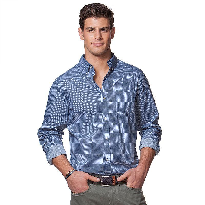 Big & Tall Chaps Geometric Button-Down Shirt