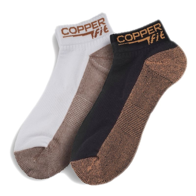 COPPER FIT SPORT SOCKS, SIZE: ONE SIZE (COPPER/BLACK)