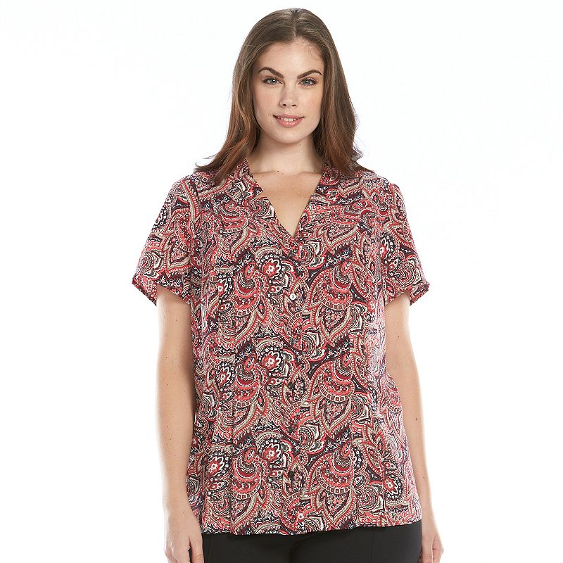 Plus Size Croft & Barrow® Printed Pintuck Blouse