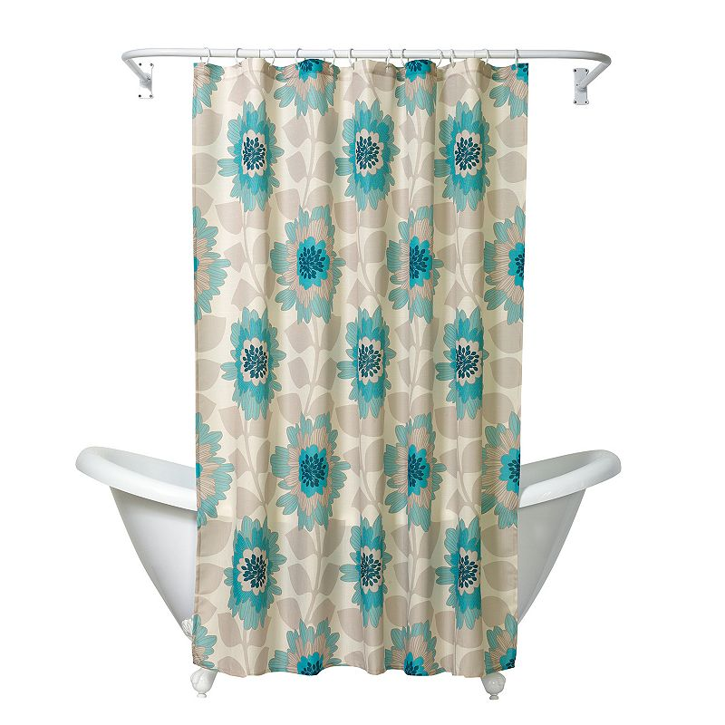 India Ink Number 9 Floral Fabric Shower Curtain