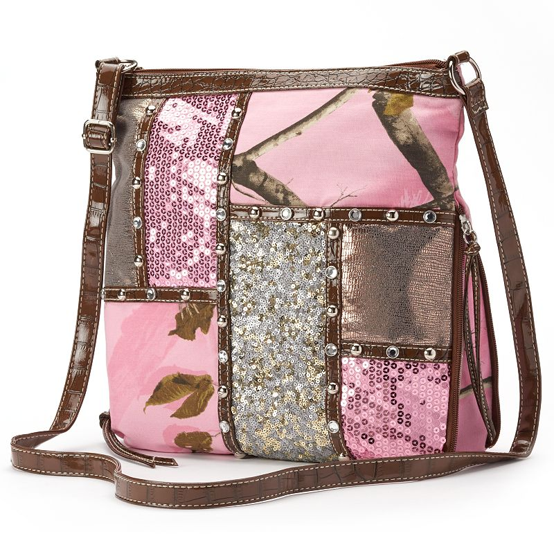 Realtree Camouflage Patchwork & Sequined Crossbody Bag