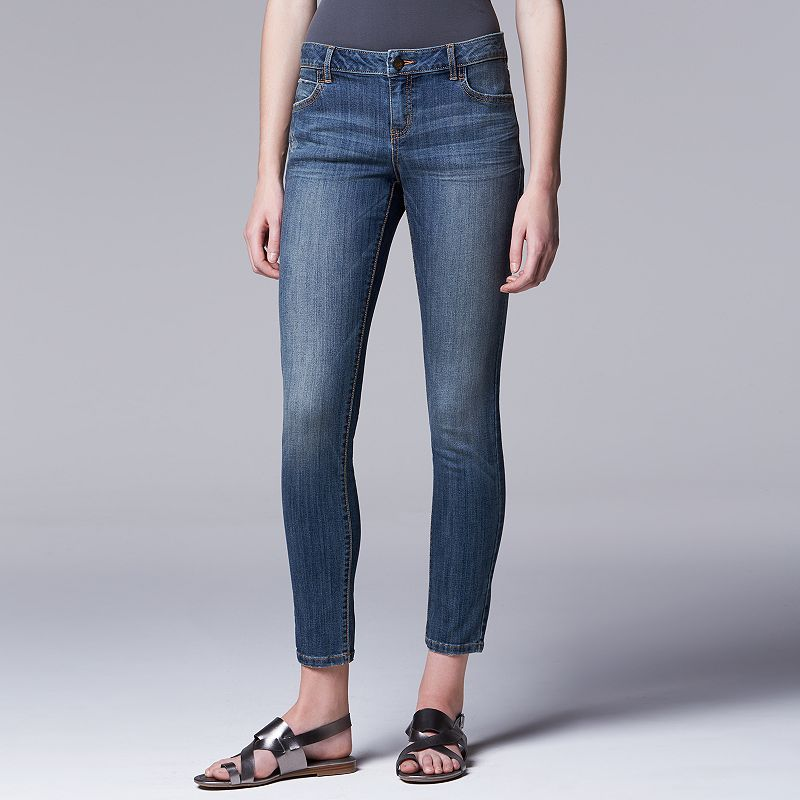 Petite Simply Vera Vera Wang Faded Super Skinny Jeans