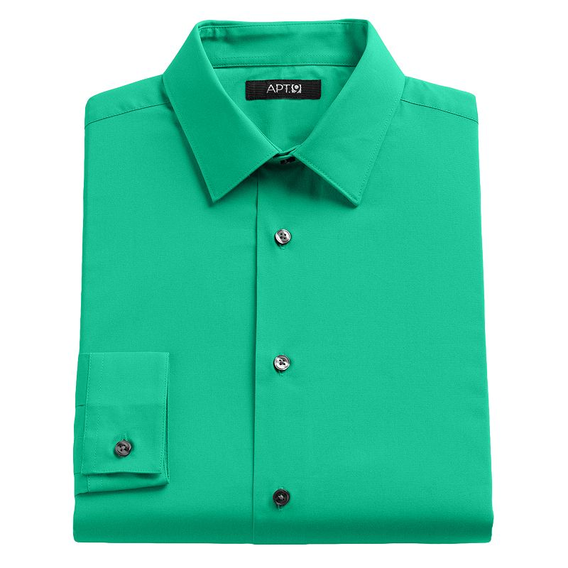 Apt 9 Slim Fit Solid Stretch Dress Shirt Men Size