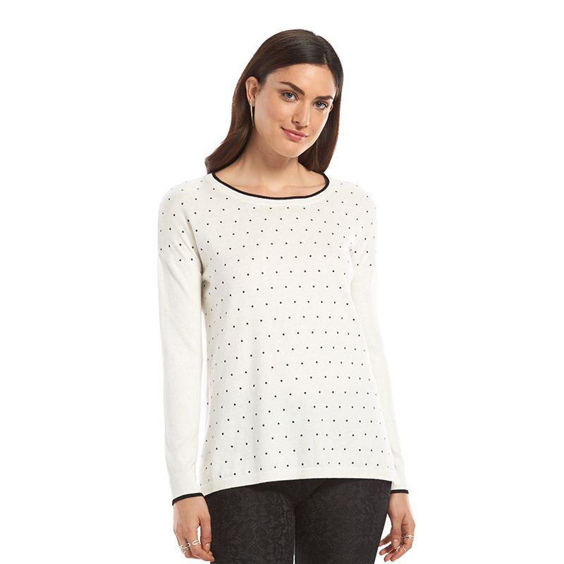 Women's ELLE™ Enamel-Dot Crewneck Sweater